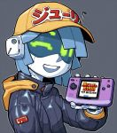 1girl baseball_cap blue_hair cameron_sewell english_commentary game_console green_eyes handheld_game_console hat highres holding holding_handheld_game_console jacket joulie leather leather_jacket metal_slug neo_geo_pocket_color no_humans one_eye_closed open_mouth original robot smile solo visor