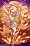1girl armpits blonde_hair boots brown_eyes choker collarbone covered_navel cure_honey full_body green_choker happinesscharge_precure! high_heel_boots high_heels high_ponytail highres holding layered_skirt long_hair looking_at_viewer miniskirt one_eye_closed open_mouth orange_footwear orange_skirt outstretched_arm precure shiny shiny_hair shipu_(gassyumaron) skirt sleeveless solo standing standing_on_one_leg very_long_hair