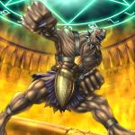 abs armor clenched_hands collar commentary duel_monster facial_mark fingernails forehead_mark glowing glowing_eyes legs_apart malganis-lefay monster muscle open_mouth orichalcos orichalcos_gigas purple_skirt red_eyes skirt solo spiked_collar spikes teeth yuu-gi-ou yuu-gi-ou_duel_monsters