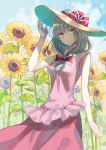 alternate_costume alternate_headwear arm_at_side arm_up bangs bare_arms blue_sky blurry blurry_background breasts clouds commentary_request cowboy_shot day eyebrows_visible_through_hair field flower flower_field front_ponytail green_eyes green_hair hair_ribbon hand_on_headwear hat hat_ribbon highres kagiyama_hina long_hair looking_at_viewer miyakure outdoors partial_commentary pink_shirt red_skirt ribbon shirt skirt sky sleeveless sleeveless_shirt small_breasts smile standing summer sun_hat sunflower touhou