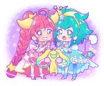 2girls ahoge aqua_eyes bangs blue_hair blue_legwear blunt_bangs braid chibi cure_milky cure_star dress earrings eyebrows_visible_through_hair full_body gradient gradient_legwear grin hair_ornament hairband horns jewelry juugoya_neko leaning_forward long_hair multiple_girls open_mouth pink_hair precure red_eyes shiny shiny_hair single_leg_pantyhose single_thighhigh smile star_(symbol) star_hair_ornament star_twinkle_precure thigh-highs twin_braids very_long_hair white_legwear wrist_cuffs yellow_hairband