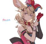 animal_ears bare_shoulders blonde_hair blush bow braid breasts closed_mouth collarbone detached_sleeves facial_mark fox_ears fox_girl gloves hair_between_eyes hair_over_shoulder hat heart heart-shaped_pupils hololive jester_cap long_hair looking_at_viewer medium_breasts multicolored_hair omaru_polka pink_hair red_gloves simple_background single_sleeve sketch symbol-shaped_pupils upper_body violet_eyes virtual_youtuber white_background yoshida_on