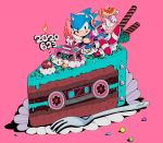 1boy aimf boombox cake candle chili_dog chocolate_cake dated english_text food fork fruit gloves headphones hot_dog jacket leaf male_focus open_clothes open_jacket pink_background red_footwear shoes solo sonic sonic_the_hedgehog strawberry tongue tongue_out white_gloves