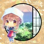 1girl alternate_costume apron bangs blue_kimono blue_pants blush bowl brown_eyes brown_footwear brown_hair checkered checkered_background closed_mouth commentary_request commission egasumi eyebrows_visible_through_hair hair_between_eyes hand_up hat holding holding_bowl inazuma_(kantai_collection) japanese_clothes kantai_collection kimono kouu_hiyoyo long_sleeves looking_at_viewer pants red_apron round_window sidelocks smile solo white_headwear white_legwear window zouri