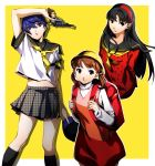 3girls amagi_yukiko arms_behind_back backpack bag bangs black_eyes black_hair black_legwear black_sailor_collar blue_eyes blue_hair brown_eyes brown_hair collarbone doujima_nanako floating_hair grey_skirt gun hair_between_eyes hairband handgun highres holding holding_gun holding_weapon houndstooth kneehighs long_hair looking_at_viewer midriff miniskirt multiple_girls nakano_maru neckerchief parted_lips persona persona_4 pleated_skirt print_skirt red_sweater sailor_collar school_uniform shiny shiny_hair shirogane_naoto shirt short_hair short_sleeves skirt stomach sweater turtleneck turtleneck_sweater very_long_hair weapon white_shirt white_sweater yasogami_school_uniform yellow_background yellow_headwear yellow_neckwear