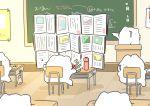 absurdres book chair chalkboard chopsticks classroom commentary desk eating eraser highres karameru karameru_(character) math obentou open_book original podium school thermos wooden_floor