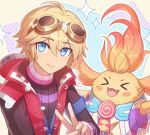 >_< 2boys :d blonde_hair blue_eyes blush_stickers enni eyebrows_visible_through_hair fangs goggles goggles_on_head multiple_boys nopon open_mouth patterned_background red_vest riki_(xenoblade) shulk smile upper_body v vest xenoblade_(series) xenoblade_1