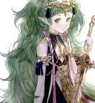 1girl braid fire_emblem fire_emblem:_three_houses green_eyes green_hair holding holding_sword holding_weapon long_hair pieces_fe3h pointy_ears ribbon_braid simple_background solo sothis_(fire_emblem) sword sword_of_the_creator tiara twin_braids upper_body weapon white_background