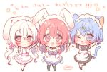 3girls :d ;d animal_ears bangs bare_shoulders black_dress black_legwear blue_dress blue_eyes blue_hair blush breasts cat_ears cat_girl cat_tail chibi commentary_request dress elbow_gloves eyebrows_visible_through_hair fang fish_hair_ornament gloves hair_between_eyes hair_ornament holding_hands long_hair low_twintails maid_headdress medium_breasts multiple_girls one_eye_closed onka open_mouth original puffy_short_sleeves puffy_sleeves rabbit_ears red_eyes redhead sakura_(usashiro_mani) shirt short_sleeves signature simple_background sleeveless sleeveless_dress sleeveless_shirt smile socks standing standing_on_one_leg star_(symbol) star_in_eye symbol_in_eye tail thigh-highs translation_request twintails usashiro_mani very_long_hair white_background white_gloves white_hair white_legwear white_shirt wrist_cuffs