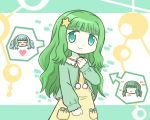 2girls :> ^_^ ai-chan_(magia_record) bangs blunt_bangs blush clenched_hand closed_eyes cosplay curly_hair eyebrows_visible_through_hair facing_viewer futaba_sana futaba_sana_(cosplay) green_eyes green_hair green_ribbon green_sweater green_theme hair_ornament hand_on_own_chest hand_up happy head_tilt heart long_hair looking_at_viewer magia_record:_mahou_shoujo_madoka_magica_gaiden mahou_shoujo_madoka_magica multiple_girls nightgown no_eyes open_mouth pajamas pale_skin pom_pom_(clothes) reverse_(bluefencer) ribbon scrunchie shaded_face shiny shiny_hair sidelocks sleeves_past_wrists smile speech_bubble spoken_character star_(symbol) star_hair_ornament sweater tareme twintails yellow_nightgown yellow_scrunchie