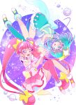 2girls ahoge asymmetrical_legwear bangs blue_hair blue_legwear choker collarbone cure_milky cure_star earrings eyebrows_visible_through_hair floating_hair full_body highres jewelry juugoya_neko long_hair multiple_girls open_mouth pink_eyes pink_hair pink_legwear precure red_choker shiny shiny_hair single_leg_pantyhose star_twinkle_precure thigh-highs white_background wrist_cuffs