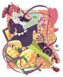1girl :d ahoge argyle argyle_background black_bow black_dress bow chair commentary dress drill_hair eyebrows_visible_through_hair flower_(symbol) frills full_body gears green_legwear hair_bow hand_up heart kasane_teto leggings looking_at_viewer open_mouth puffy_short_sleeves puffy_sleeves red_eyes red_footwear red_ribbon redhead ribbon shoes short_sleeves smile solo twin_drills twintails utau wrist_ribbon yoshiki
