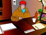 1boy absurdres alien anh_konge artbook highres huge_filesize incredibly_absurdres paper pen pixel_art redhead room screen_light table virus