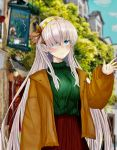 1girl absurdres anastasia_(fate/grand_order) blue_eyes blush brown_coat city coat commentary_request earrings fate_(series) gahara gold_hairband green_sweater hair_between_eyes hair_over_one_eye highres jewelry light_smile long_hair red_skirt ribbed_sweater sign silver_hair skirt solo sweater tree very_long_hair waving