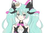 1girl :o aqua_eyes aqua_hair black_dress bow bowtie commentary dress expressionless hair_ornament hat hatsune_miku long_hair looking_at_viewer magical_mirai_(vocaloid) mini_hat mini_top_hat mk2_mirara neck_ruff parted_lips pink_bow pink_neckwear portrait sketch sleeveless sleeveless_dress solo top_hat twintails very_long_hair vocaloid white_background white_headwear