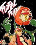 ^_^ black_background black_gloves blonde_hair cagney_carnation clenched_hand closed_eyes copyright_name cuphead cuphead_(game) fatal_fury fatal_fury_cap fingerless_gloves flower gloves grin hat highres male_focus mario_(series) piranha_plant pun rariatto_(ganguri) red_vest shirt simple_background sleeveless smile super_smash_bros. sweat teeth terry_bogard the_king_of_fighters vest