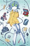 1girl battery cable cameron_sewell cd cellphone clenched_hand flip_phone floating game_cartridge green_eyes hand_on_own_chin handheld_game_console highres hood hoodie joulie neo_geo_pocket_color nintendo_ds no_humans open_mouth original phone radio_antenna robot screw smartphone solo visor yellow_hoodie