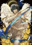angel angel_wings black_hair blue_eyes bob_cut bruno_buccellati cao_hong_anh feathered_wings feathers flower gold hair_ornament hairclip halo highres jojo_no_kimyou_na_bouken rose vento_aureo white_wings wings