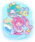 2girls :d ahoge aqua_hair bangs blue_eyes blunt_bangs chibi collarbone cure_milky cure_star earrings eyebrows_visible_through_hair full_body gradient_hair green_hair hair_between_eyes hair_ornament jewelry juugoya_neko long_hair mermaid monster_girl multicolored_hair multiple_girls open_mouth pink_hair precure red_eyes short_sleeves smile star_(symbol) star_hair_ornament star_twinkle_precure twintails very_long_hair