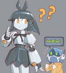 2girls ? borrowed_character cameron_sewell clenched_hands english_text highres joulie looking_back mechanical_skirt multiple_girls no_humans original pointing robot yellow_eyes