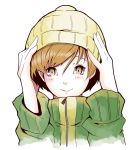 1girl artist_request beanie brown_eyes brown_hair hat highres jacket persona persona_4 satonaka_chie short_hair smile solo track_jacket