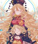 2girls black_dress blonde_hair blue_star blush breast_rest breasts breasts_on_head chair chinese_clothes closed_eyes constellation_print dress headwear_removed highres hug hug_from_behind junko_(touhou) kyuutame long_hair matara_okina multiple_girls open_mouth pom_pom_(clothes) ribbon sitting star_(symbol) tabard touhou very_long_hair yellow_eyes yellow_ribbon yellow_star yuri