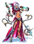 1girl adeptus_mechanicus asymmetrical_clothes breasts english_commentary expressionless extra_arms full_body gun handgun highres hood hood_up looking_at_viewer mechanical_arm navel prosthesis prosthetic_arm shiny shiny_skin small_breasts solo sydus tube violet_eyes warhammer_40k weapon white_background white_hair