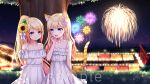 2girls :d aerial_fireworks animal_ear_fluff animal_ears bangs bare_arms bare_shoulders bell bell_collar blonde_hair blue_eyes blurry blurry_background blush cat_ears cat_girl cat_tail closed_mouth collar collarbone commentary_request copyright_request depth_of_field dress eye_contact eyebrows_visible_through_hair fireworks flower hair_flower hair_ornament hand_up high_ponytail jingle_bell long_hair looking_at_another multiple_girls night night_sky off-shoulder_dress off_shoulder omoomomo open_mouth outdoors pink_flower ponytail red_eyes sample sky sleeveless sleeveless_dress smile striped_tail summer_festival sunflower sunflower_hair_ornament swept_bangs tail tail_raised torii tree very_long_hair virtual_youtuber white_collar white_dress yellow_flower