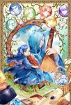 1boy 1girl :d animal artist_name baby bird blue_cape blue_dress blue_hair blue_legwear book boots border brown_footwear cape character_request closed_mouth commentary_request copyright_request day dress eyebrows_visible_through_hair flower hair_bun hair_flower hair_ornament highres holding holding_book holding_instrument instrument kaze-hime long_hair long_sleeves medium_hair open_mouth smile tree walking yellow_eyes