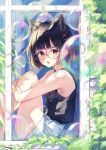 1girl animal_ear_fluff animal_ears bangs bare_arms bare_shoulders black_hair black_shirt blush cat_ears commentary_request eyebrows_visible_through_hair from_outside glasses hair_ornament hairclip highres knees_up leg_hug looking_at_viewer looking_to_the_side mole mole_under_eye open_mouth original pink-framed_eyewear red_eyes shirt short_shorts shorts sitting sleeveless sleeveless_shirt solo tsukiman upper_teeth white_shorts window x_hair_ornament
