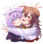 2girls :t ;d ahoge animal_ear_fluff animal_ears arm_up bangs black_hairband bow brown_bow brown_eyes brown_hair cat_ears character_name cheek-to-cheek closed_mouth collared_shirt cropped_torso dog_ears eyebrows_visible_through_hair hair_between_eyes hairband heart highres hololive hug inugami_korone ittokyu long_hair looking_at_viewer multiple_girls nekomata_okayu one_eye_closed open_mouth plaid plaid_bow purple_hair purple_shirt shirt simple_background smile upper_body v v-shaped_eyebrows violet_eyes virtual_youtuber white_background white_shirt