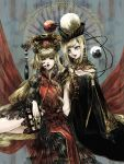 2girls alternate_costume blonde_hair chinese_clothes crescent hecatia_lapislazuli junko_(touhou) lips lipstick long_hair looking_at_viewer makeup moon_(ornament) multiple_girls nazo_(mystery) open_mouth polos_crown red_eyes red_lipstick redhead tabard touhou yellow_eyes