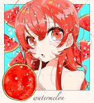1girl bare_shoulders blue_background blush bubble close-up collarbone english_text eyebrows_visible_through_hair finger_to_mouth food fruit fruit_eyes hair_between_eyes highres long_hair open_mouth original red_eyes redhead solo star_(symbol) star_in_eye sweat symbol_in_eye upper_body watariganikun watermelon