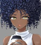 1girl afro black_hair chaesu close-up coffee_cup commentary cup dark_skin disposable_cup english_commentary grey_background highres lips lipstick makeup nara_(chaesu) original portrait ringlets sleeveless sleeveless_turtleneck solo turtleneck very_dark_skin watermark yellow_eyes