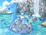 baggy_pants blue_eyes blue_hair blue_pants blue_sky clouds cloudy_sky dive_ball fishing fishing_lure fishing_rod gen_1_pokemon gen_7_pokemon highres lapras lying_on_another mei_(maysroom) pants pokemon pyukumuku rainbow reflective_water shirt short_hair sky suiren_(pokemon) tagme tiara water waterfall wave_print white_shirt wishiwashi wishiwashi_(solo)