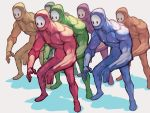 6+others bald black_eyes fall_guys highres lack multiple_others muscle no_humans no_mouth pose shadow simple_background