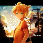 1boy bag blonde_hair blue_eyes carrying_bag clouds commentary fire_flower_(vocaloid) from_side hana_(mew) headphones kagamine_len looking_at_viewer looking_to_the_side male_focus outdoors parted_lips short_ponytail short_sleeves shoulder_bag silhouette solo song_name spiky_hair tree twilight upper_body utility_pole vocaloid