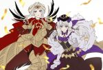 2girls armor cape closed_mouth dress edelgard_von_hresvelg fake_horns fire_emblem fire_emblem:_three_houses fire_emblem_heroes fur_trim gloves hair_ornament hat headpiece horns long_hair lysithea_von_ordelia multiple_girls parted_lips pink_eyes red_cape simple_background smile violet_eyes vo1ez white_background white_gloves white_hair