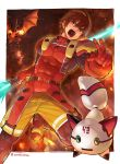 1boy abs armor battle belt blue_eyes breathing_fire brown_hair burning covered_abs covered_navel dragon explosion fire flying gloves hair_between_eyes highres holding holding_weapon male_focus monster muscle open_mouth pauldrons phantasy_star phantasy_star_online red_gloves robot sharp_teeth shorts shoulder_armor solo teeth tongue torakichi_(ebitendon) turtleneck twitter_username upper_teeth weapon yellow_eyes