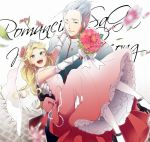 1boy 1girl blonde_hair breasts chimaki_(impressiveanarchy) closed_mouth dress earrings elbow_gloves gian_(saga) gloves jewelry long_hair looking_at_viewer myriam_(saga) open_mouth pantyhose romancing_saga romancing_saga_minstrel_song saga wedding_dress