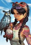 1girl bare_shoulders bird black_hair blue_eyes blue_sky braid brown_gloves character_request clouds collarbone earrings fortnite freckles full_body_tattoo gloves goggles goggles_on_head hair_tie hankuri jewelry logo looking_at_viewer mechanical_bird nose_piercing owl piercing print_shirt purple_lips shirt sky solo tank_top tattoo twin_braids twintails white_shirt