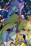 2girls bangs black_choker blonde_hair blue_gloves blurry blurry_background bow choker closed_mouth collarbone cure_moonlight cure_sunshine earrings elbow_gloves eyebrows_visible_through_hair food fruit gloves hair_between_eyes hair_bow heartcatch_precure! jewelry long_hair multiple_girls orange orange_bow precure profile purple_choker purple_hair purple_neckwear shiny shiny_hair shipu_(gassyumaron) short_sleeves sketch twintails very_long_hair