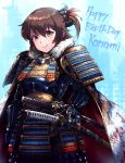 1girl arm_at_side armor bangs black_bow blue_background bow breastplate brown_eyes brown_hair cape character_name closed_mouth commentary_request cowboy_shot don_michael etou_kanami eyebrows_visible_through_hair feathers floral_print fur-trimmed_cape fur_trim hair_between_eyes hair_bow hair_feathers hand_on_sheath happy_birthday highres japanese_armor katana kote kusazuri looking_at_viewer one_side_up orange_feathers print_cape sageo samurai saya_(scabbard) scabbard sheath sheathed shiny shiny_hair short_hair shoulder_armor smile sode solo standing sword toji_no_miko tsuba_(guard) tsuka-ito tsuka_(handle) weapon