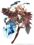1girl absurdres bandages belt belt_buckle blonde_hair blood bloody_bandages boots buckle cloak cross-laced_footwear deep_wound eyepatch frills full_body fur_trim grin highres injury ji_no little_red_riding_hood_(sinoalice) looking_at_viewer mace official_art orange_eyes sinoalice smile solo square_enix thigh-highs thigh_boots torn_clothes weapon white_background