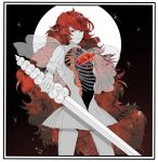 absurdly_long_hair absurdres androgynous crystal_hair full_moon highres holding holding_sword holding_weapon houseki_no_kuni long_hair looking_at_viewer minorun_(kurome) moon night night_sky padparadscha_(houseki_no_kuni) red_eyes redhead ribs sheath sky smile solo standing sword very_long_hair weapon