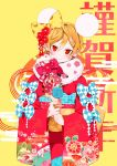 1girl animal_ears bell bell_earrings blonde_hair blue_bow bow bunny_hair_ornament closed_mouth commentary_request earrings egasumi eyebrows_visible_through_hair fake_animal_ears floral_print flower fur_collar hair_between_eyes hair_bow hair_flower hair_ornament head_tilt highres holding japanese_clothes jewelry kimono kouhaku_nawa looking_at_viewer original red_eyes red_kimono ring sash seigaiha short_hair smile solo watariganikun yellow_background yellow_bow yellow_sash