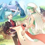 2boys black_jacket black_pants bracelet clouds commentary_request day fingernails gen_3_pokemon grass green_eyes green_hair hand_on_hip highres jacket jewelry long_sleeves metagross mikuri_(pokemon) milotic multiple_boys official_art open_mouth outdoors pants pokemon pokemon_(creature) pokemon_(game) pokemon_masters pokemon_oras ring sky smile teeth tongue tsuwabuki_daigo upper_teeth