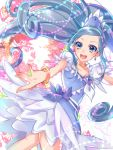 1girl :d bangs blue_eyes blue_hair bracelet collarbone cure_diamond dokidoki!_precure earrings floating_hair highres jewelry layered_skirt long_hair looking_at_viewer miniskirt open_mouth parted_bangs ponytail precure shiny shiny_hair shipu_(gassyumaron) short_sleeves skirt smile solo very_long_hair white_skirt