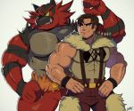 2boys abs arm_hair bara bare_shoulders beowulf_(skullgirls) chest crossover facial_hair flexing furry gen_7_pokemon highres incineroar male_focus manly multiple_boys muscle pokemon pose ruslorc sideburns simple_background skullgirls smile stubble suspenders thick_thighs thighs wrestling