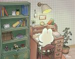 ayu_(mog) book book_stack bookshelf clock daisy desk flower from_behind lamp matryoshka_doll no_humans open_book original plant potted_plant rabbit reading signature sitting tree white_flower